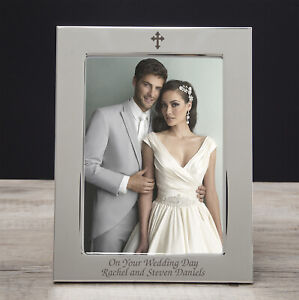 Personalised Silver Plated 5x7 Cross Photo Frame Gifts Ideas For Wedding Day