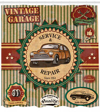 Vintage Garage Theme Old Car Repair Labels Retro Art Print Shower Curtain Set