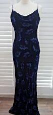 Monsoon Velvet Silk Dark Blue Long Dress Floral Devore Bodycon Wiggle - Size 12