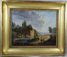 Paysage animé au moulin,Ecole italienne du XVIIIème,huile sur toile.