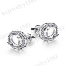 Fine Jewelry Natural Diamonds Earring Solid 18K White Gold Semi Mount 7x5mm Oval