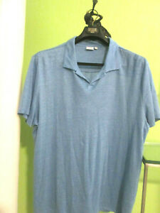 ONIA SIGNATURE-CLASSIC OCEAN BLUE 100%LINEN COLLAR POLO-2XL