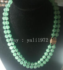 AAA 2 rows 8MM green jade necklace 17-18 inch magnet clasp