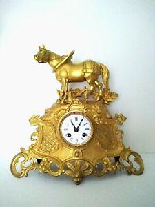 Antike Figurenuhr Kaminuhr Pendule Tischuhr Pendeluhr Clock Uhr m. Pferd ca 1890