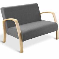 Mid Century Modern Loveseat Fabric Upholstered Wood Armchair 2-Seater Sofa Gray
