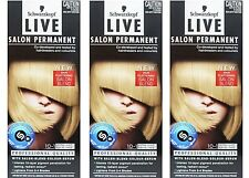 3 x SCHWARZKOPF LIVE SALON PERMANENT HAIR COLOUR 10.1 EXTRA LIGHT ASH BLONDE New