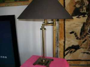 French Column Glass swing-arm table lamp with custom shade.$ Reduced $