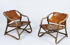 Pair Of Vintage 1960' Scandinavian Design Bamboo & Leather Lounge Armchair
