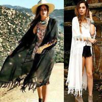 Sexy Women Boho Fringe Lace half Sleeve Sheer Tassel Kimono Cardigan Blouse