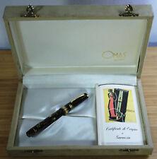 Omas Extra Paragon Saft Green Celluloid Fountain Pen 1994 Vermeil Trim 18K Nib