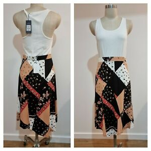 BNWT Summer Skirt 10 S Small BLUE ILLUSION WOMEN'S | Patchwork Print | RRP$99
