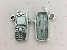10 Antiguo Color Plata 24 X 16 mm Teléfono Móvil encantos colgante
