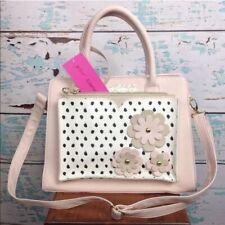 Betsey Johnson Purse Pink Black Polka Dot Floral Handbag Shopper Bag Wristlet