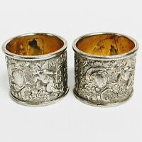 Antique Etched Silver Plate Napkin Rings Cherubs Angels Filagree Set of 2