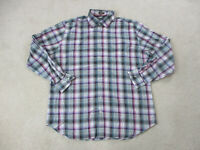 Peter Millar Button Up Shirt Adult Extra Large Purple Gray Plaid Casual Mens A12