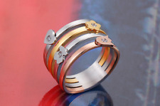 High Quality Stainless steel love heart Bear Zircon drill Hole Ring Anti Allergy