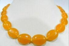 "Beautiful 13X18MM Oval Yellow Topaz Gemstone Beaded Necklace 18"""