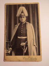 Jüterbog - Damm - stehender Soldat in Uniform mit Mantel Säbel & Parade-Helm CDV