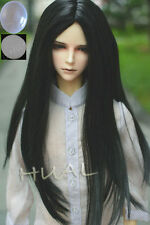 "7-8"" 1/4 BJD Black Straight Long Wig LUTS Doll SD DZ DOD MSD Pullip Hair +Cap"