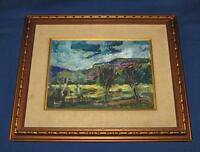"Yehuda Rodan Painting Landscape Mountains 9 1/2"" x 12 1/2""  Oil on Wood, Framed"