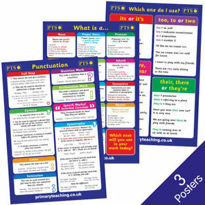 3 Mixed Grammar Punctuation Literacy School Classroom Childrens Posters A2 Kids