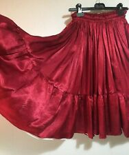 Ruby Red Satin Skirt Fab Flared White Peticoat Layer Style Latin Dance XS S 8 10