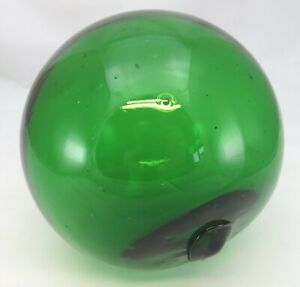 Antique Victorian Green Glass Witches Ball Sphere (diam: 13cm)
