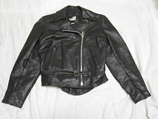 ALL AMERICAN RIDER Black Leather Bikers Motorcycle Jacket USA Womens 6 S SWEET!