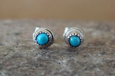 Navajo Indian Jewelry Sterling Silver Turquoise Dot Post Earrings! S0084
