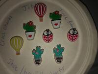 Glow In Dark Cactus,lady Bugs & More Lot Of 8 Croc Shoe,Bracelet Charms,Jibbitz