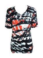 Capuccino Damen T-Shirt Kurzarm Schwarz Gemustert Viskose Gr. 36