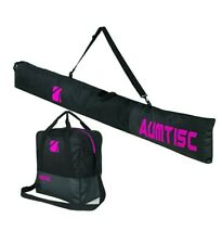 Two Piece Ski Luggage Set Single Pair Boot Bag- Long Ski Bag Black Pink