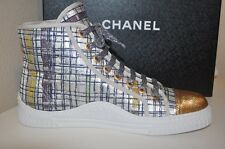 NIB CHANEL 17C GLOBE TROTTER HIGH TOP SNEAKERS SHOE TWEED FABRIC Sz 36 EU