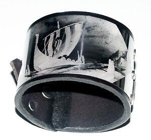 Stainless Steel Viking Black Leather Cuff Wristband Bracelet adjustable-Handmade
