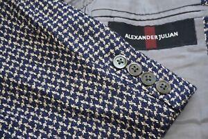 Alexander Julian VTG Navy Blue White 3/2 Roll Woven Tweedy Sport Coat Jacket 42R