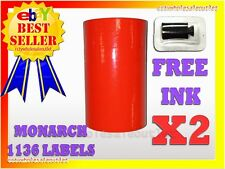 2 SLEEVES FLUORESCENT RED LABEL FOR MONARCH 1136 PRICING GUN 2 SLEEVES=16ROLLS