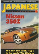 """Nissan 350Z road test report """"sales brochure"""" japonais performance sept. 2003"""