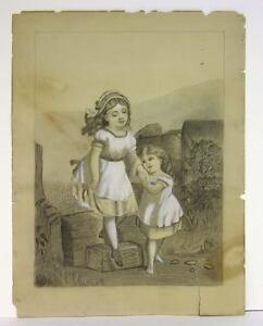 c1840 Primitive Americana Folk Art Drawing Two Little Girls