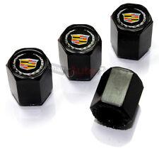 (4) Cadillac New Style Silver Logo Black ABS Tire/Wheel Stem air Valve Caps set