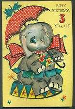 Vintage Greeting Card HAPPY BIRTHDAY 3 YEAR OLD 3D Elephant Punches out to Pin