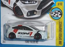 2017 HOT WHEELS Ford Focus RS Koni White HW Speed Graphics #8/10 Col. #79/365