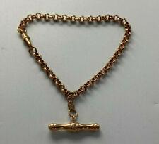 9ct Rose Gold Hallmarked Hollow Belcher Link T-Bar Bracelet.  Goldmine Jewellers