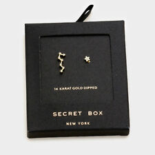 Star Earrings Tiny Secret Gift Box 14K GOLD DIPPED Small Stud Unbalanced Moon CZ