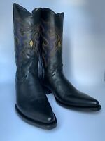 Black Leather Cowboy Boots - Hand Crafted