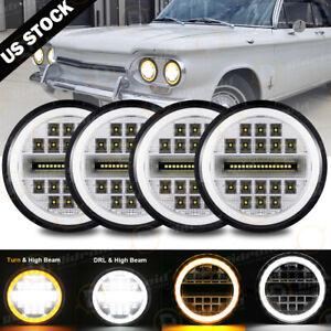 4x 5.75 inch Chrome LED Headlights Hi Lo Beam Bel Air 1963-1975 EI Camino Impala