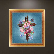 Religious Embroidery 5D Diamond Painting Flower Cross Stitch Home Wall Decor DIY