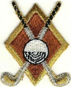 Brown Golf Clubs Ball Crest Embroidery Patch