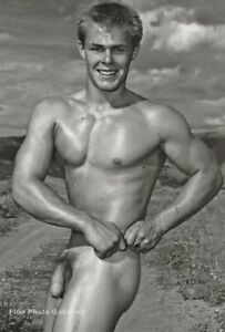 1950/95 Vintage BRUCE BELLA of LA Male Nude Muscle Gay Int Photo Engraving 11X14