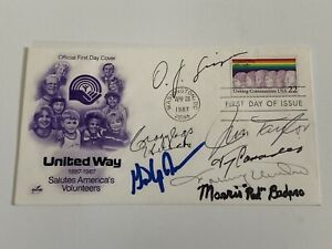 Johnny Unitas OJ Simpson Gene Upshaw Jim Taylor Signed Autograph First Day Cover