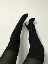 Luxus MAI PIU SENZA Overknee Thigh High wildLeder Stiefel Stiletto 39 schwarz